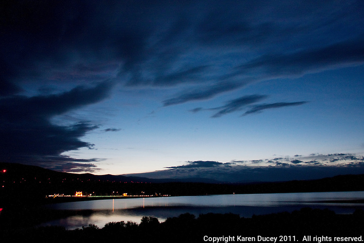 The Wanapum Dam, a hydroelectric dam located on the Columbia River north of Beverly, Washington, is seen lit up at night on February 3, 2011.  (photo credit Karen Ducey)