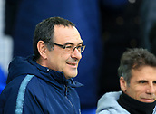17th March 2019, Goodison Park, Liverpool, England; EPL Premier League Football, Everton versus Chelsea; Chelsea manager Maurizio Sarri looks on from the dugout