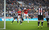Harry Maguire of Man Utd heads a shot at goal during the Premier League match between Newcastle United and Manchester United at St. James's Park, Newcastle, England on 6 October 2019. Photo by J GILL / PRiME Media Images.