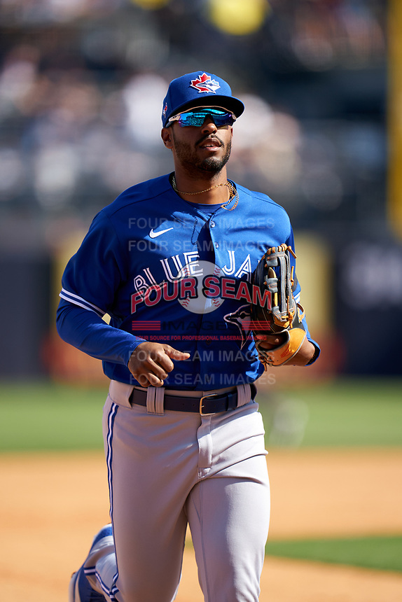 Toronto Blue Jays Josh Palacios (77) jogs to the dugout during a Spring Training game against the New York Yankees on February 22, 2020 at the George M. Steinbrenner Field in Tampa, Florida.  (Mike Janes/Four Seam Images)