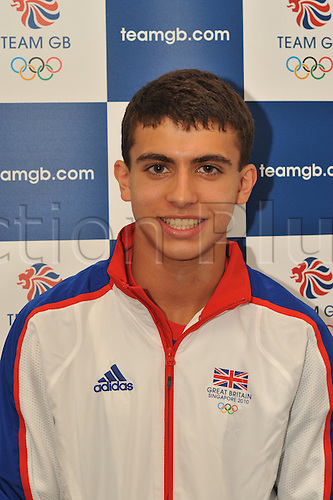 9.08.2010: The GB Youth Olympic Team and Officials. The British team prepare to fly to Singapore for the first ever Youth Olympics. The picture shows Alexander Tofalides from London who is competing in the Fencing Foil event in Singapore.