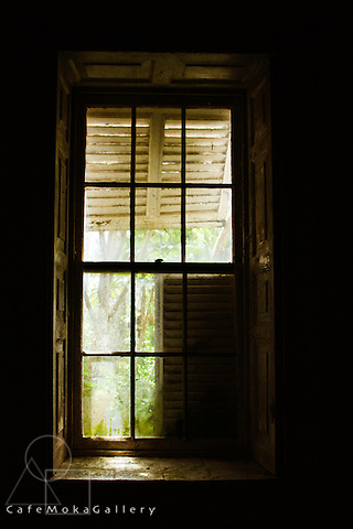 Barbados - Wakefield Hall Plantation House now decaying - window with shutters