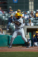 Paul McIntosh (34) of the West Virginia Mountaineers at bat against the Illinois Fighting Illini at TicketReturn.com Field at Pelicans Ballpark on February 23, 2020 in Myrtle Beach, South Carolina. The Fighting Illini defeated the Mountaineers 2-1.  (Brian Westerholt/Four Seam Images)