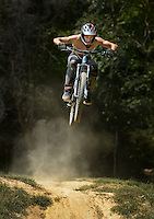 NWA Democrat-Gazette/BEN GOFF &bull; @NWABENGOFF<br /> Tylar (CQ) Furr of Fayetteville rides on Friday Aug. 14, 2015 at the Slaughter Pen freeride park in Bentonville.