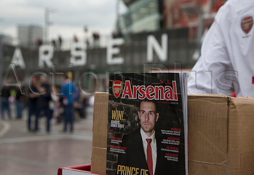 27.09.2014.  Emirates Stadium,  London, England. Barclays Premier League. Arsenal versus Tottenham Hotspur. The Official match program on sale outside the ground before the game.