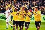 11.05.2019, Signal Iduna Park, Dortmund, GER, 1.FBL, Borussia Dortmund vs Fortuna Düsseldorf, DFL REGULATIONS PROHIBIT ANY USE OF PHOTOGRAPHS AS IMAGE SEQUENCES AND/OR QUASI-VIDEO<br /> <br /> im Bild | picture shows:<br /> Thomas Delaney (Borussia Dortmund #6) und Lukasz Piszczek (Borussia Dortmund #26) jubeln mit dem Torschuetzen zum 2:1 Christian Pulisic (Borussia Dortmund #22),  <br /> <br /> Foto © nordphoto / Rauch