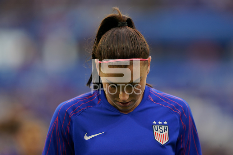DECINES-CHARPIEU, FRANCE - JULY 02: Alex Morgan #13 during a 2019 FIFA Women's World Cup France Semi-Final match between England and the United States at Groupama Stadium on July 02, 2019 in Decines-Charpieu, France.