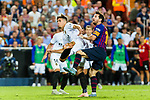 Lionel Messi of FC Barcelona (R) fights for the ball with Gabriel de Abreu of Valencia CF (L) during their La Liga 2018-19 match between Valencia CF and FC Barcelona at Estadio de Mestalla on October 07 2018 in Valencia, Spain. Photo by Maria Jose Segovia Carmona / Power Sport Images