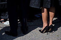 First lady Melania Trump, right, stands next to U.S. President Donald Trump during a ceremony to commemorate the September 11, 2001 terrorist attacks, at the Pentagon in Washington, D.C., U.S., on Monday, Sept. 11, 2017. Trump is presiding over his first 9/11 commemoration on the 16th anniversary of the terrorist attacks that killed nearly 3,000 people when hijackers flew commercial airplanes into New York's World Trade Center, the Pentagon and a field near Shanksville, Pennsylvania. <br /> CAP/MPI/CNP/RS<br /> &copy;RS/CNP/MPI/Capital Pictures