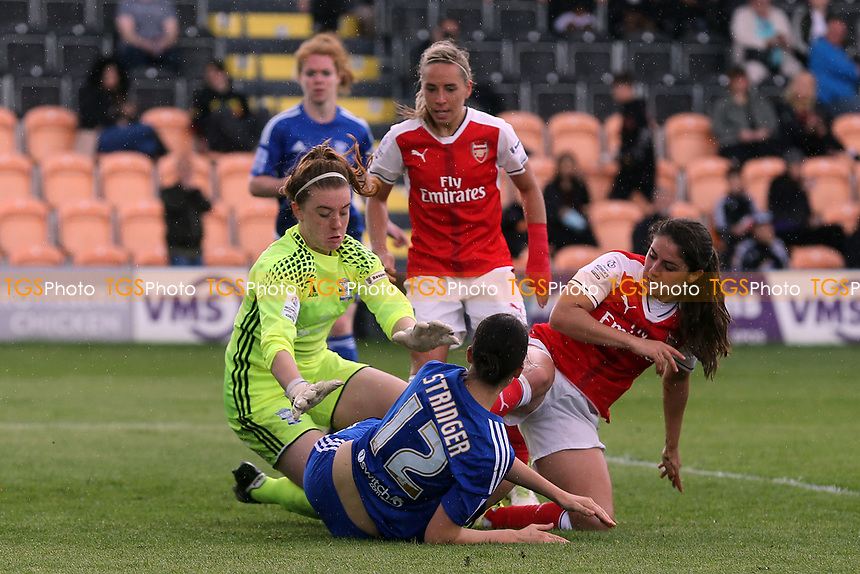 A goalmouth scramble involving Sophie Baggaley and Abbey-Leigh Stringer of Birmingham City Ladies and Danielle van de Donk of Arsenal Ladies during Arsenal Ladies vs Birmingham City Ladies, FA Women's Super League FA WSL1 Football at the Hive Stadium on 20th May 2017