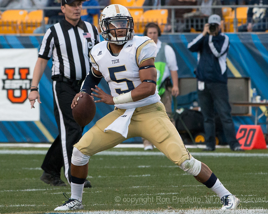 Georgia Tech quarterback Justin Thomas. The Georgia Tech Yellow Jackets defeated the Pitt Panthers 56-28 at Heinz Field, Pittsburgh Pennsylvania on October 25, 2014.