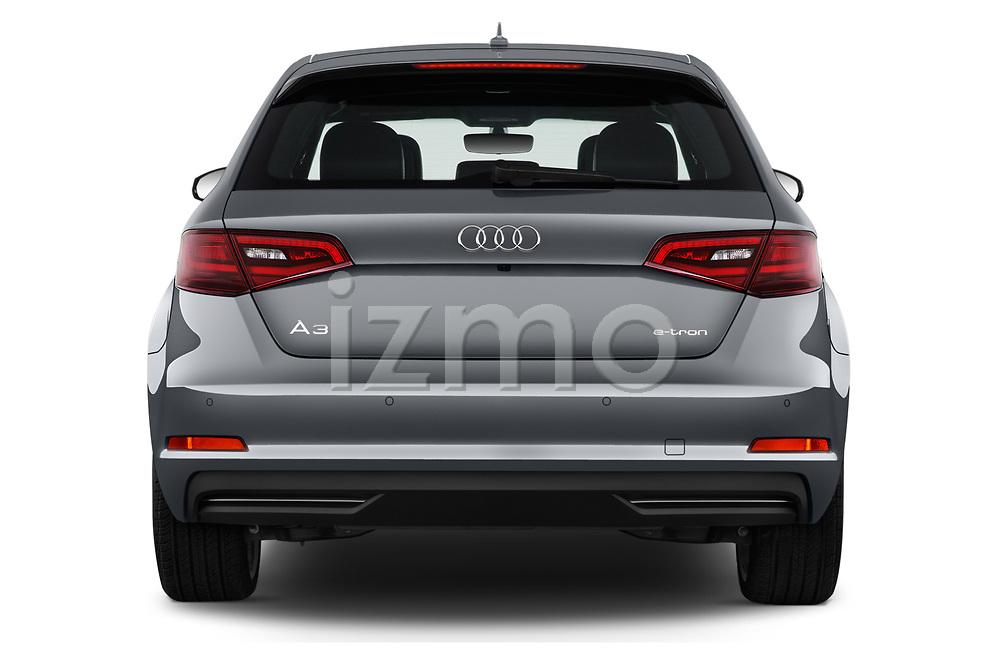 Straight rear view of 2016 Audi A3  Sportback e tron 1.4T S tronic Premium Plus  5 Door Hatchback stock images