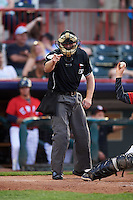 Umpire Randy Rosenberg during a game between the Richmond Flying Squirrels and Erie SeaWolves on May 27, 2016 at Jerry Uht Park in Erie, Pennsylvania.  Richmond defeated Erie 7-6.  (Mike Janes/Four Seam Images)