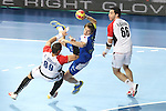 21.01.2013 Barcelona, Spain. IHF men's world championship, Eighth Final. Picture show Sebastian Skube in action during game slovenia vs Egypt at Palau St Jordi