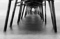 Bogue Inlet Fishing Pier long exposure in monochrome