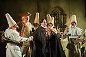 London, UK. 25.09.2015. English National Opera presents THE BARBER OF SEVILLE, by Gioachino Rossini, directed by Jonathan Miller, at the London Coliseum. Picture shows: Matthew Durkan (Fiorello), Eleazar Rodriguez (Count Almaviva).  Photograph © Jane Hobson.