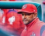 15 April 2018: Washington Nationals Manager Dave Martinez watches play from the dugout during a game against the Colorado Rockies at Nationals Park in Washington, DC. All MLB players wore Number 42 to commemorate the life of Jackie Robinson and to celebrate Black Heritage Day in pro baseball. The Rockies edged out the Nationals 6-5 to take the final game of their 4-game series. Mandatory Credit: Ed Wolfstein Photo *** RAW (NEF) Image File Available ***