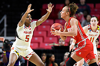 College Park, MD - March 23, 2019: Maryland Terrapins guard Kaila Charles (5) plays defense against Radford Highlanders forward Lydia Rivers (20) during first round action of game between Radford and Maryland at Xfinity Center in College Park, MD. Maryland defeated Radford 73-51. (Photo by Phil Peters/Media Images International)