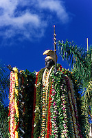 Adorned with flower Leis, the staue of King Kamehameha stands in tibute to the once great Hawaiian monarch.  Statue stands on the grounds of the State Judiciary building on King st.,downtown Honolulu.