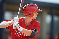 Philadelphia Phillies Madison Stokes (15) at bat during a Florida Instructional League game against the New York Yankees on October 11, 2018 at Yankee Complex in Tampa, Florida.  (Mike Janes/Four Seam Images)