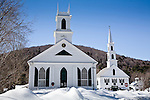 Snowy churches in Newfane town common, Newfane, VT, USA