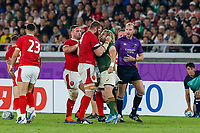 27th October 2019, Oita, Japan;  Faf de Klerk of South Africa and Jake Ball of Wales share a few words during the 2019 Rugby World Cup semi-final match between Wales and South Africa at International Stadium Yokohama in Kanagawa, Japan on October 27, 2019.  - Editorial Use