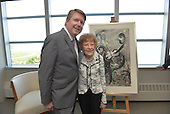 Audrey Spiegel donates a Chagall painting to the Bienen School of Music at Northwestern University. (Photo by Jim Prisching)