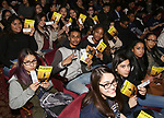 "Students attend The Rockefeller Foundation and The Gilder Lehrman Institute of American History sponsored High School student #EduHam matinee performance of ""Hamilton"" at the Richard Rodgers Theatre on 3/29/2017 in New York City."