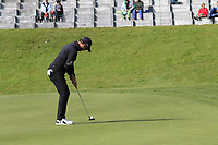 Danny Willett (ENG) takes his birdie putt on the 13th green during Thursday's Round 1 of the 2017 Omega European Masters held at Golf Club Crans-Sur-Sierre, Crans Montana, Switzerland. 7th September 2017.<br /> Picture: Eoin Clarke | Golffile<br /> <br /> <br /> All photos usage must carry mandatory copyright credit (&copy; Golffile | Eoin Clarke)