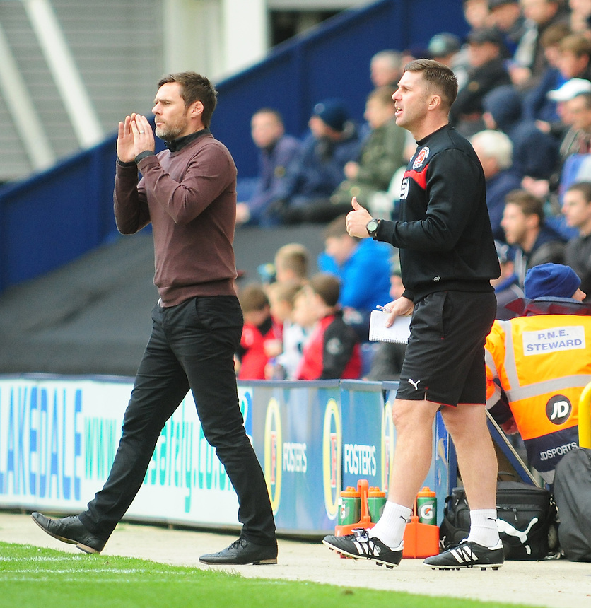 Fleetwood Town manager Graham Alexander, left, and Fleetwood Town's Assistant Manager Chris Lucketti <br /> <br /> Photographer Chris Vaughan/CameraSport<br /> <br /> Football - The Football League Sky Bet League One - Preston North End v Fleetwood Town - Saturday 25th October 2014 - Deepdale - Preston<br /> <br /> &copy; CameraSport - 43 Linden Ave. Countesthorpe. Leicester. England. LE8 5PG - Tel: +44 (0) 116 277 4147 - admin@camerasport.com - www.camerasport.com