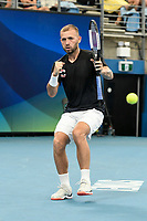 7th January 2020; Sydney Olympic Park Tennis Centre, Sydney, New South Wales, Australia; ATP Cup Australia, Sydney, Day 5; Great Britain versus Moldova; Daniel Evans of Great Britain versus Radu Albot of Moldova; Daniel Evans of Great Britain wins his match against Radu Albot of Moldova - Editorial Use
