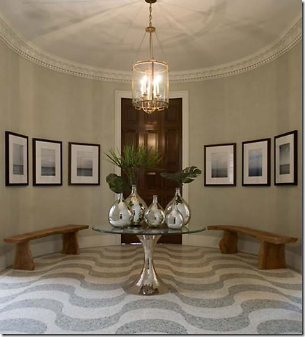 Aquarius floor in Travertine White and Salmon Moss tumbled<br /> -Image Courtesy of James Michael Howard