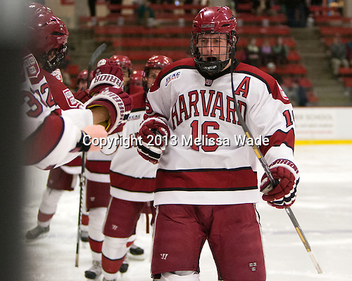 Alex Fallstrom (Harvard - 16) - The Harvard University Crimson defeated the Colgate University Raiders 4-1 (EN) on Friday, February 15, 2013, at the Bright Hockey Center in Cambridge, Massachusetts.