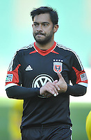 Carlos Ruiz (20) of D.C. United at the end of the match. The Columbus Crew defeated D.C. United 2-1 ,at RFK Stadium, Saturday March 23,2013.