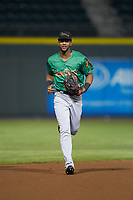 Down East Wood Ducks right fielder Leody Taveras (3) jogs off the field between innings of the game against the Winston-Salem Dash at BB&T Ballpark on May 10, 2019 in Winston-Salem, North Carolina. The Wood Ducks defeated the Dash 9-2. (Brian Westerholt/Four Seam Images)
