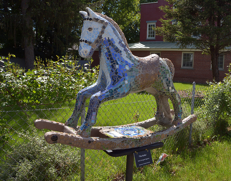 "A view of ""The Keltic"" created by artist, Georgette Eagleson, one of the ""Rockin' Around Saugerties"" theme Statues on display throughout the Village of Saugerties, NY, on Saturday, June 3, 2017. Photo by Jim Peppler. Copyright/Jim Peppler-2017."