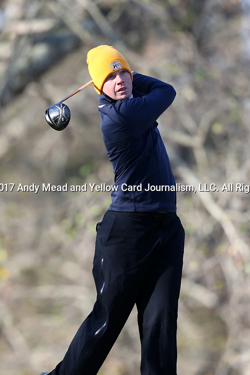 WILMINGTON, NC - MARCH 19: Kent State's Gisli Sveinbergsson (ISL) tees off on the Ocean Course third hole. The first round of the 2017 Seahawk Intercollegiate Men's Golf Tournament was held on March 19, 2017, at the Country Club of Landover Nicklaus Course in Wilmington, NC.