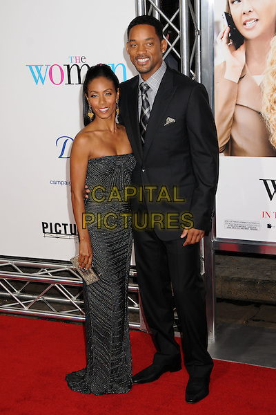 "JADA PINKETT SMITH & WILL SMITH .""The Women"" Los Angeles Premiere at Mann's Village Theatre, Westwood, California, USA..September 4th, 2008.full length black suit jacket silver grey gray strapless beads beaded dress dangling gold earrings married husband wife clutch bag .CAP/ADM/BP.©Byron Purvis/AdMedia/Capital Pictures."