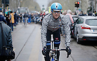 Fabian Wegmann (DEU) to the start with his (stylewise) controversial  POC helmet & glasses<br /> <br /> 2014 Milano - San Remo