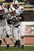 11 November 2006: Bo McNally celebrates his interception 49 yards for a touchdown with Pat Maynor during Stanford's 20-3 win over the Washington Huskies in Seattle, WA.