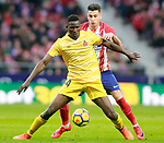 Atletico de Madrid's Jose Maria Gimenez (b) and Girona FC's Michael Olunga during La Liga match. January 20,2018. (ALTERPHOTOS/Acero)