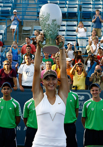 21.08.2011..Maria Sharapova [RUS] wins the 2011 Western & Southern Open Women's Championship at the Western & Southern Open at the Lindner Family Tennis Center in Mason, Ohio...Sharapova defeated Jelena Jankovic [SRB] 4-6, 7-6, 6-3..