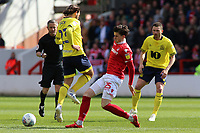 Blackburn Rovers' Bradley Dack is tackled by Nottingham Forest's Sam Byram<br /> <br /> Photographer David Shipman/CameraSport<br /> <br /> The EFL Sky Bet Championship - Nottingham Forest v Blackburn Rovers - Saturday 13th April 2019 - The City Ground - Nottingham<br /> <br /> World Copyright © 2019 CameraSport. All rights reserved. 43 Linden Ave. Countesthorpe. Leicester. England. LE8 5PG - Tel: +44 (0) 116 277 4147 - admin@camerasport.com - www.camerasport.com