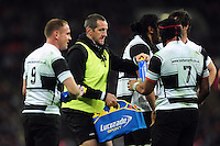 Barbarians coach Will Greenwood hands out water bottles. Killik Cup International match, between the Barbarians and South Africa on November 5, 2016 at Wembley Stadium in London, England. Photo by: Patrick Khachfe / JMP