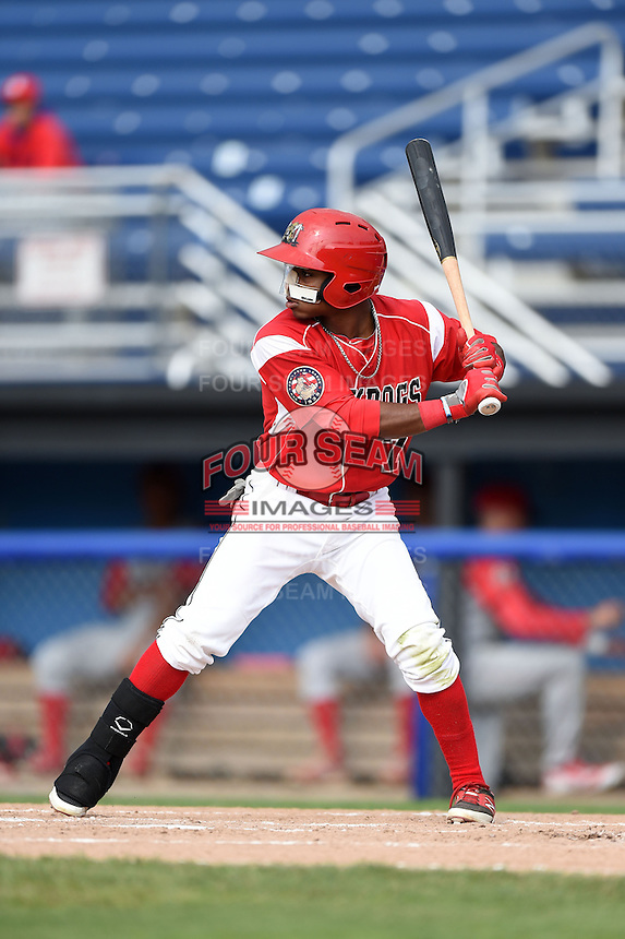 Batavia Muckdogs second baseman Mason Davis (7) at bat during the first game of a doubleheader against the Williamsport Crosscutters on July 29, 2014 at Dwyer Stadium in Batavia, New York.  Williamsport defeated Batavia 3-2.  (Mike Janes/Four Seam Images)