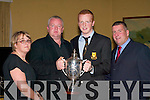 PLAYER: Johnny Buckley receives the Holly Keogh Dr Crokes Young Player of the Year at the Dr Crokes GAA club social in the Dromhall Hotel, Killarney on Saturday. Pictured l-r: Catherine Keogh, John Keogh, Johnny Buckley and Patrick O'Sullivan.   Copyright Kerry's Eye 2008