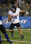 Boise State's Dallas Burroughs runs against Nevada in the first half of an NCAA college football game in Reno, Nev., on Saturday, Oct. 4, 2014. Boise State won 51-46. (AP Photo/Cathleen Allison)