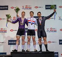 25th January 2020; National Cycling Centre, Manchester, Lancashire, England; HSBC British Cycling Track Championships; Men's sprint final medallists Ali Fielding (L) Silver, Hamish Turnbull (C) Gold, Alex Spratt (R) Bronze
