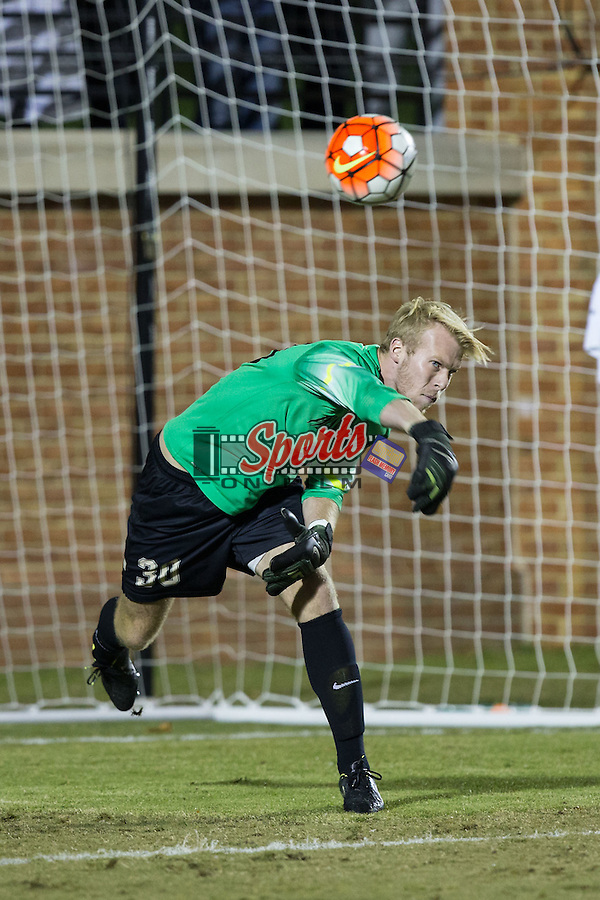 Grant Bishop (30) of the Wake Forest Demon Deacons throws the ball during second half action against the Georgia State Panthers at Spry Soccer Stadium on October 20, 2015 in Winston-Salem, North Carolina.  The Demon Deacons defeated the Panthers 5-0.  (Brian Westerholt/Sports On Film)