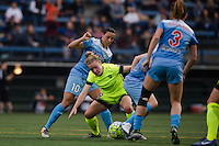 Seattle, WA - Sunday, May 22, 2016: Seattle Reign FC midfielder Kim Little (8) fights to maintain possession against Chicago Red Stars midfielder Vanessa DiBernardo (10) during a regular season National Women's Soccer League (NWSL) match at Memorial Stadium. Chicago Red Stars won 2-1.